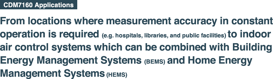 From locations where measurement accuracy in constant  operation is required (e.g. hospitals, libraries, and public facilities) to indoor  air control systems which can be combined with Building Energy Management Systems (BEMS) and Home Energy  Management Systems (HEMS).